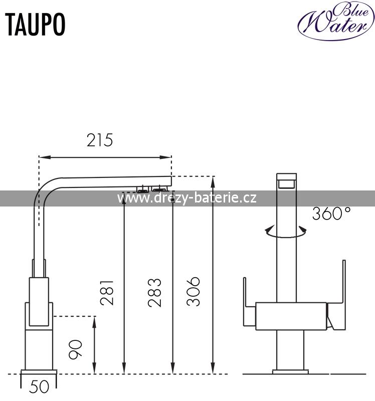 Blue Water TAUPO chrom matný trojcestná vodovodní baterie